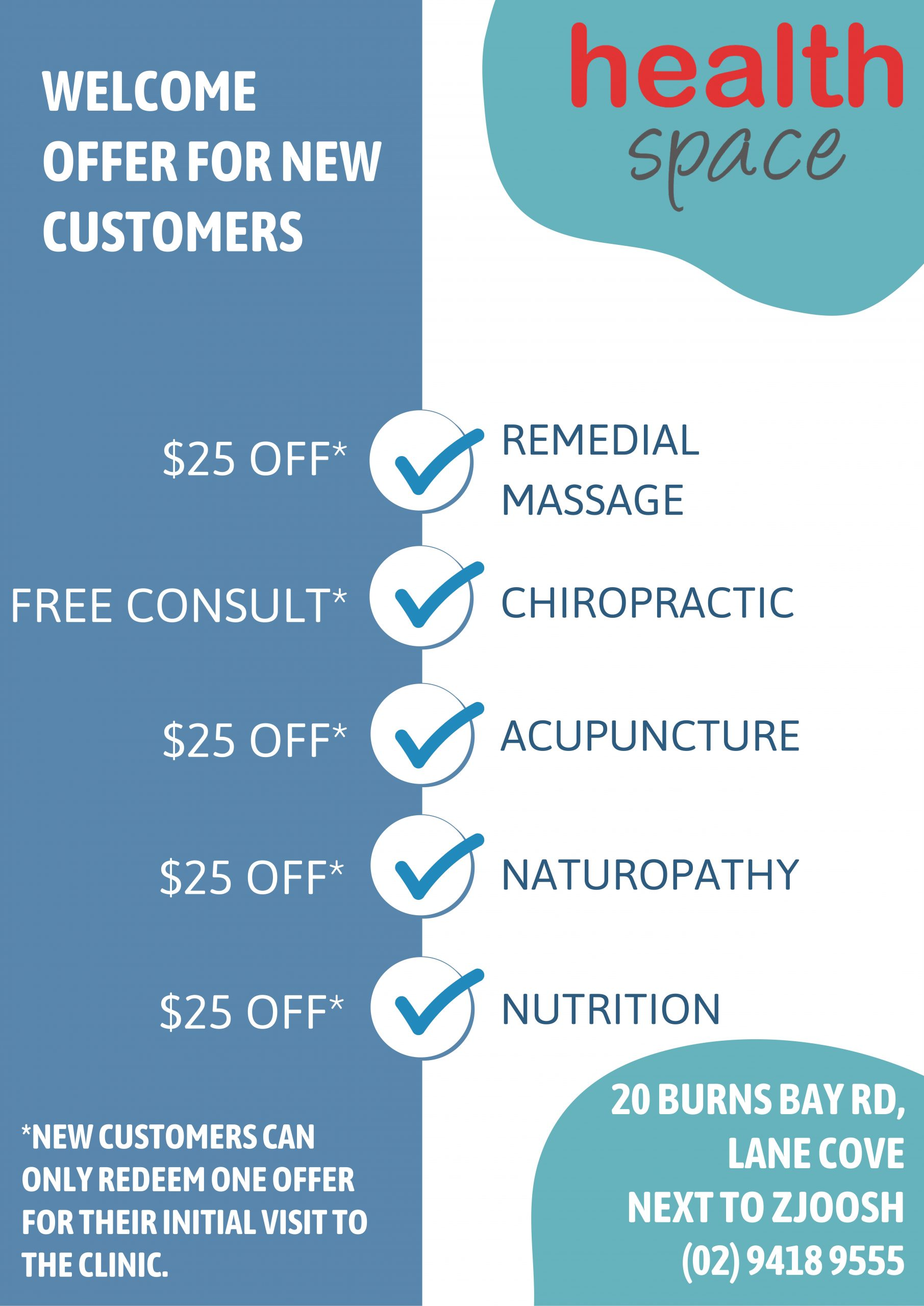 Current Lane Cove Promotion! - Health Space Clinics